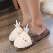 Cartoon Plush Slippers Warm Bedroom Home Shoes