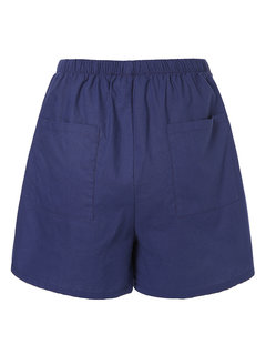 Casual Pockets Elastic Waist Solid Color Shorts