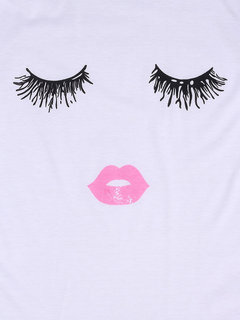 Plus Size Casual 3D Eyelash Lip Printed T-Shirt For Women