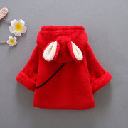 Cute Rabbit Ear Hooded Baby Girls Coat Warm Jacket Outerwear For 0-24M