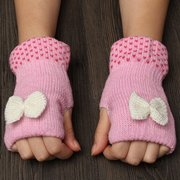 Cute Bowknot Crochet Knitted Fingerless Gloves Thermal Hand Wrist Mittens