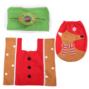 3Pcs/Set Christmas Toilet Cover Set Toilet Lid Cover Water Tank Cover Rug