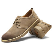 Men British Style Genuine Leather Lace-up Flat Casual Shoes