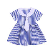 Striped Print Girls Navy Blue School Dress For 1-7 Years