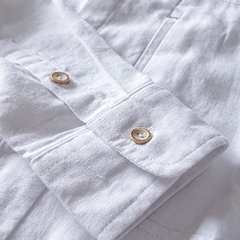 Casual Chinese Style Solid Color Slim Fit Long Sleeve Linen Shirts for Men