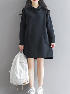 Casual Thicken Turtleneck Button Hooded Long Sleeve Women Dresses