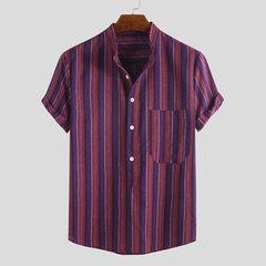 Henley de manga corta para hombre, casual, diario, con rayas a rayas, manga corta Camisa