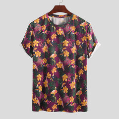Mens Summer Flamingo Bedruckte O-Neck Kurzarm lose Casal T-Shirts