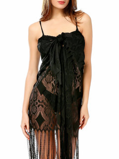 Fringe Shawl Sexy Lace Cutout Cover Up Swimsuit Swimwear For Women