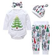3Pcs Cotton Baby Girls Boys Long Sleeve Romper Pants Set For 3-18M