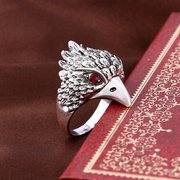 Punk Animal Ring Eagle Head Plating Silver Vintage Inlay Big Rings para hombres al por mayor de joyería