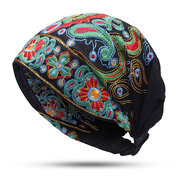 Womens Embroidery Ethnic Cotton Beanie Hat Vintage Good Elastic Breathable Turban Cap