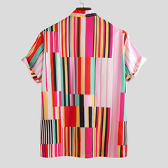 Mens Summer Hit Color Stripe Printed Turn Down Collar Short Sleeve Loose Casual Shirts