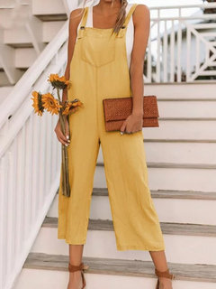 Solid Color Loose Straps Casual Jumpsuit For Women