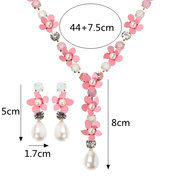 JASSY Bridal Jewelry Set Pink Flower Pearl Necklace Earrings Women Jewelry for Wedding Accessories
