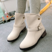 Large Size Buckle Button Ankle Boots