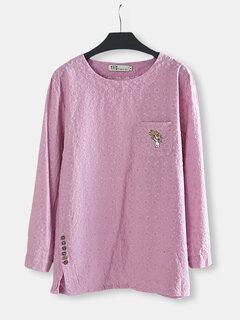 Blusa casual bordada de croché de color puro para mujeres