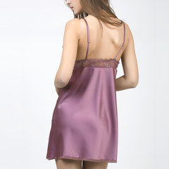 Sexy Lace Plunge Bowknot Satin camisón Comfort Sleepwear