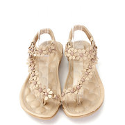 Bohemia Flowers Strappy Y Shape Splice Clip Toe Flat Slip On Sandals