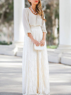 High Waist Hollow Lace Solid Color Long Skirt