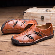 Mocassins Homme Élégants Couture Manuelle Semelle Souple Chaussures Décontractées à Enfiler