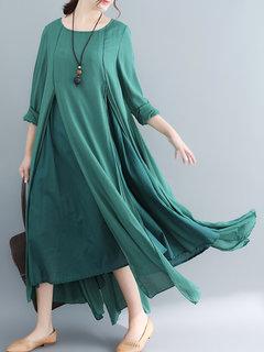 Vestido de una línea dividida irregular color sólido vintage