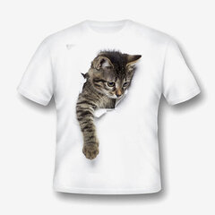 Unisex 3D Cat Printed Toddler Boys Girls Kids Short Sleeve T Shirts For 1Y-9Y