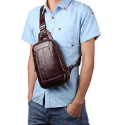 Genuine Leather Chest Bag First Layer Of Leather Casaul Retro Crossbody Bag For Men