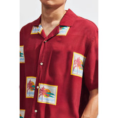 Mens Holiday Hawaiian Floral bedruckte Umlegekragen Kurzarm Shirt