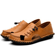 Men Hand Stitching Hole Breathable Soft Water Friendly Leather Sandals