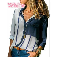 Women's Thin Shirt Single-breasted Striped Shirt Women