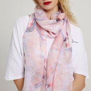 Women Elegant Butterfly Wings Printed Scarves Travel Photographing Sunscreen Shawl Scarf