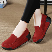 Genuine Leather Platform Slip On Shoes