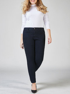 Casual High Cintura Pocket Pure Color Stretch Jeans For Women