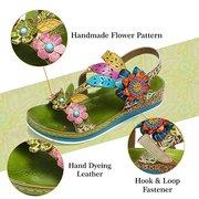 SOCOFY Super Comodo Vera Pelle Fiori Modello Splicing Stitching Floral Gancio Loop Sandals