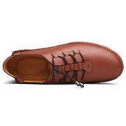 Men Soft Cow Leather Adjustable Buckle Casual Shoes