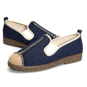 Big Size Linen Color Blocking Flat Slip On Knitting Shoes For Women