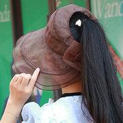 Женское Складная двухсторонняя одежда Summer Sun Пустой топ Шапка На открытом воздухе Шапка для путешествий с хвостом вождения