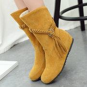 نساء حجم كبير شرابة الجلد المدبوغ الدافئ بطانة منتصف الشتاء أحذية الشتاء