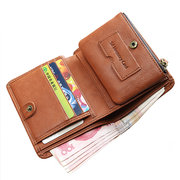 Genuine Leather Detachable Coin Slot Retro Short Wallet For Men