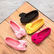 Girls Suede Bowknot Decor Slip On Simple Lazy Flat Shoes