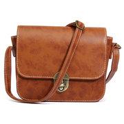 Sac à bandoulière en cuir vintage pour femme, couleur unie, sac bandoulière