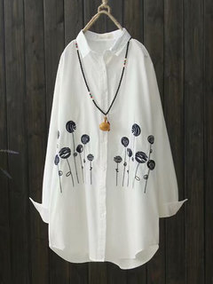 Vintage Embroidery Lapel Long Sleeve Women Shirt