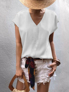 Casual V-neck Solid Color Chiffon Short Sleeve Blouse