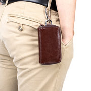 Genuine Leather Business High Capacity Keychain Casual Key Holder For Men