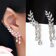 Elegant Leaf Rhinestone Cuff Earrings Silver Gold Color Piercing Tassel Earrings for Women