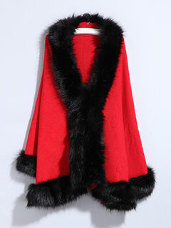 Women Faux Fur Collar Knitted Shawl Cloak Coats