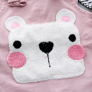 2Pcs Cute Bear Pattern Baby Clothing Set Top + Suspender Pants For 0-24M