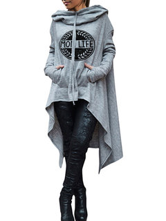 Casual Letter Print Irregular Plus Size Long Hoodie