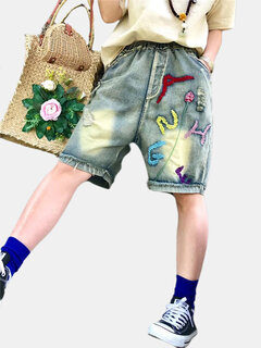 Bordado Elastic Waist Shorts Loose Denim